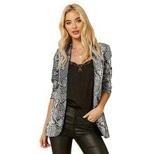 9394a1ff5a8 Для женщин блейзер 2019 модная куртка осень-зима классический Женское пальто  пикантные змея питона печати Длинные рукава с отвор.