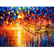 Hand Painted Landscape Abstract Wooden Dock Knife Modern Oil Painting Canvas Art Living Room hallway Artwork Fine Art