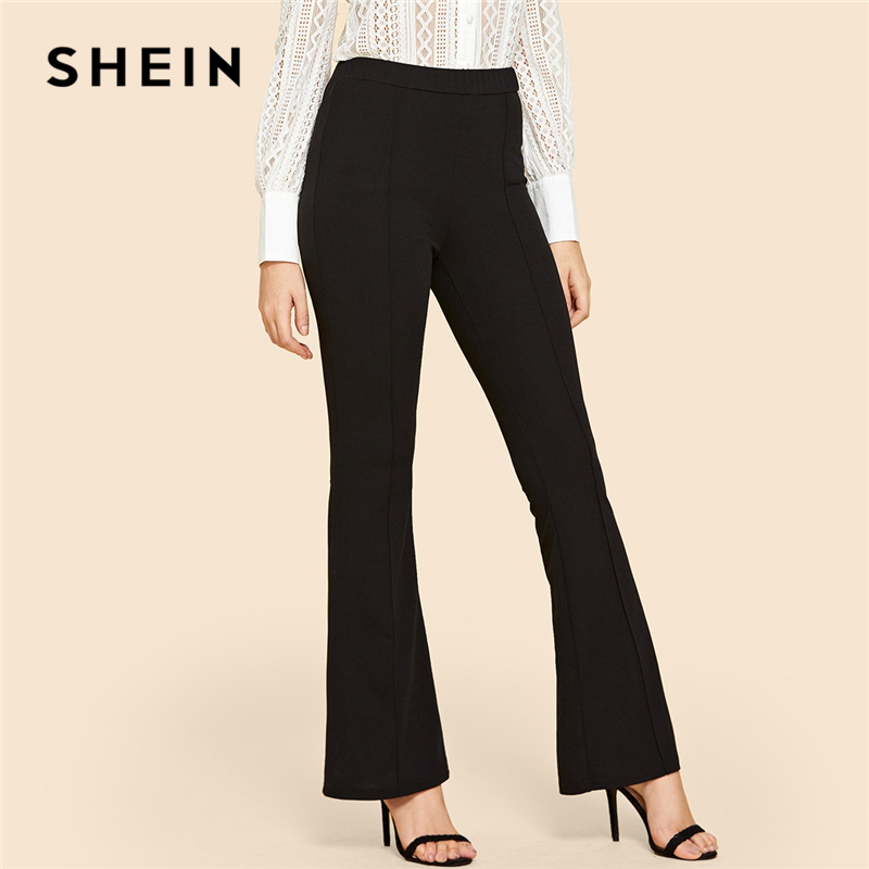 SHEIN Black Vintage Solid Contrast Binding Flare Leg Elastic Waist Elegant Pants Autumn Office Lady Workwear Women Trousers