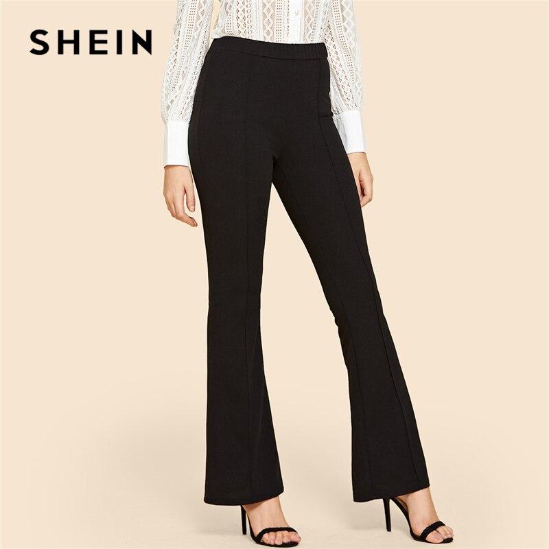 SHEIN, negro sólido, Vintage, contraste obligatorio llamarada pierna cintura elástica elegante pantalones otoño Oficina Ropa de pantalones de las mujeres