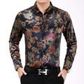 Mens paisley camisas vintage palacio flores impreso camisetas hombre slim fit de manga larga de estilo chino retro floral camisas para los hombres