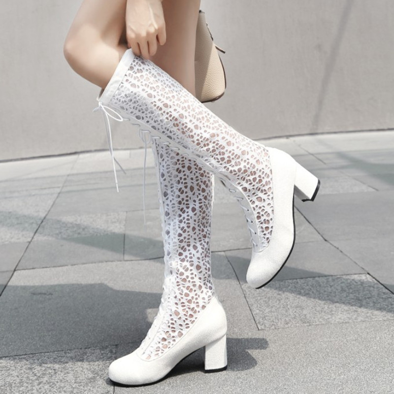 2018 New Autumn Shoes Women Boots White Knee High Boots Ladies Shoes Comfort Breathable High Boots Women Pumps Large Size