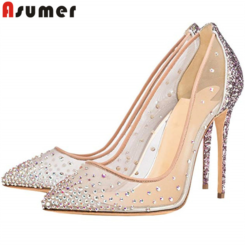 ASUMER duży rozmiar 35 45 moda pompy damskie buty pointed toe płytkie buty na obcasie buty kryształowe eleganckie buty ślubne balowe kobieta w Buty damskie na słupku od Buty na  Grupa 1