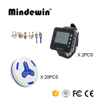 Mindewin 433MHz Wireless Caller 2PCS Watch Pager M-W-1 and 20PCS Table Call Button M-K-4 Paging System For Restaurant Or