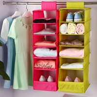 Washable 5 Candy Colors Folding Hanging 6 Compartments S Shelf Closet Organizer Shoe Organizer Storage Bag