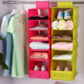 Washable 5 Candy Colors Folding Hanging 6 Compartments-S Shelf Closet Organizer Shoe Organizer Storage Bag Storage Box 096