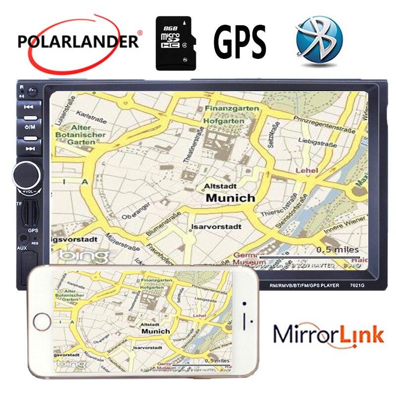 2Din MP5 lecteur autoradio stéréo FM USB 7 pouces 8G carte GPS Navigation miroir écran miroir pour téléphone Android avec caméra