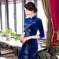 Новое Прибытие Китайский Традиционный женская Катушки Кнопка Мандарин Collor Мода длинные Чонг-сэм Vintage Dress S M L XL XXL 3XL J1816