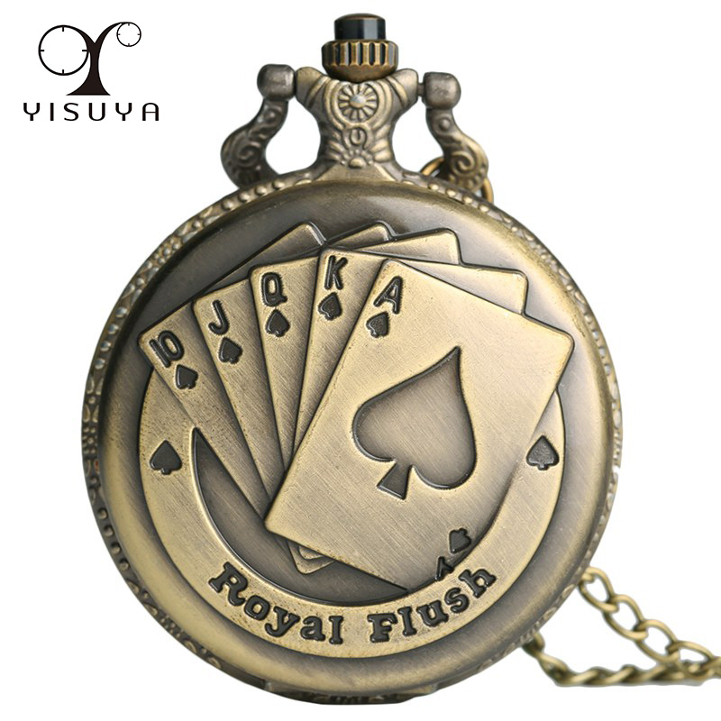 New Fashion Vintage Pocket Necklace Watch Antique Style Texas Royal Flush Poker with Necklace Chain Gift Bag reloj de bolsillo watch top brand new hot fashion vintage pocket watch retro antique chain au map necklace pendant pocket watch for specia gift m