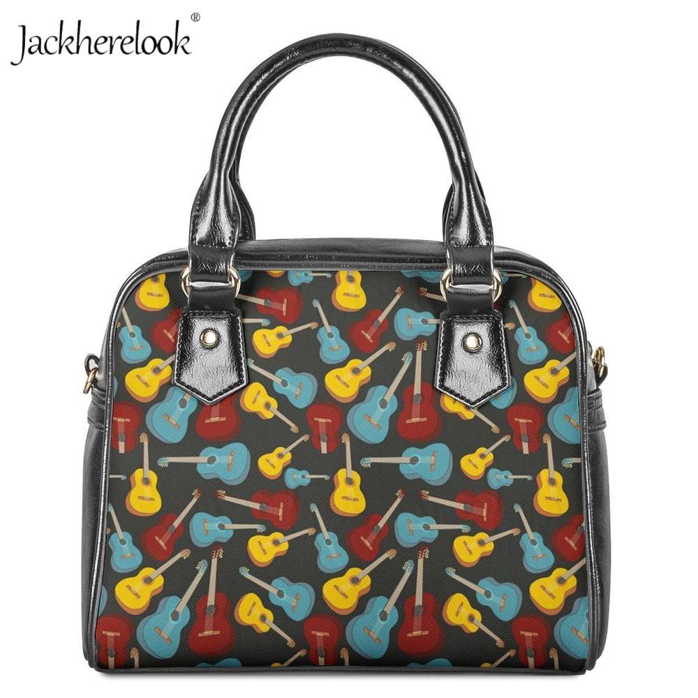 Jackherelook marque Designer guitare électrique imprimé femmes sac à main bandoulière sac PU cuir sacs dames fourre-tout femme sac à bandoulière