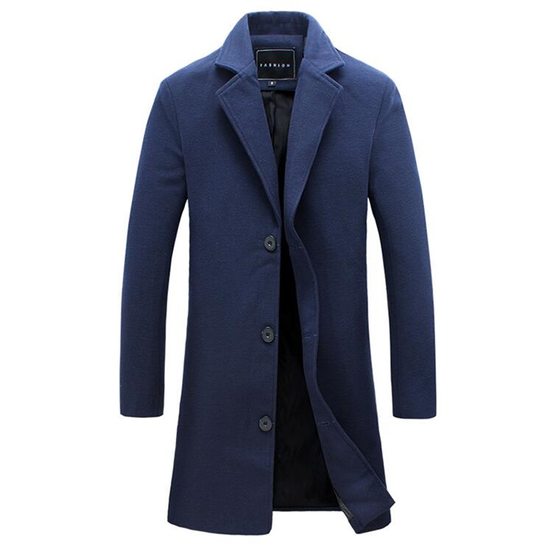XMY3DWX 2017 fashion men are upscale in winter High-grade warm Tweed coat/men slim Fit pure color Casual long jacket S-5XL