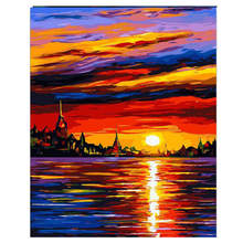 RIHE Sunset Sea Painting By Numbers Frameworks Boat Coloring Pictures Home Decor Canvas Decorations Modular