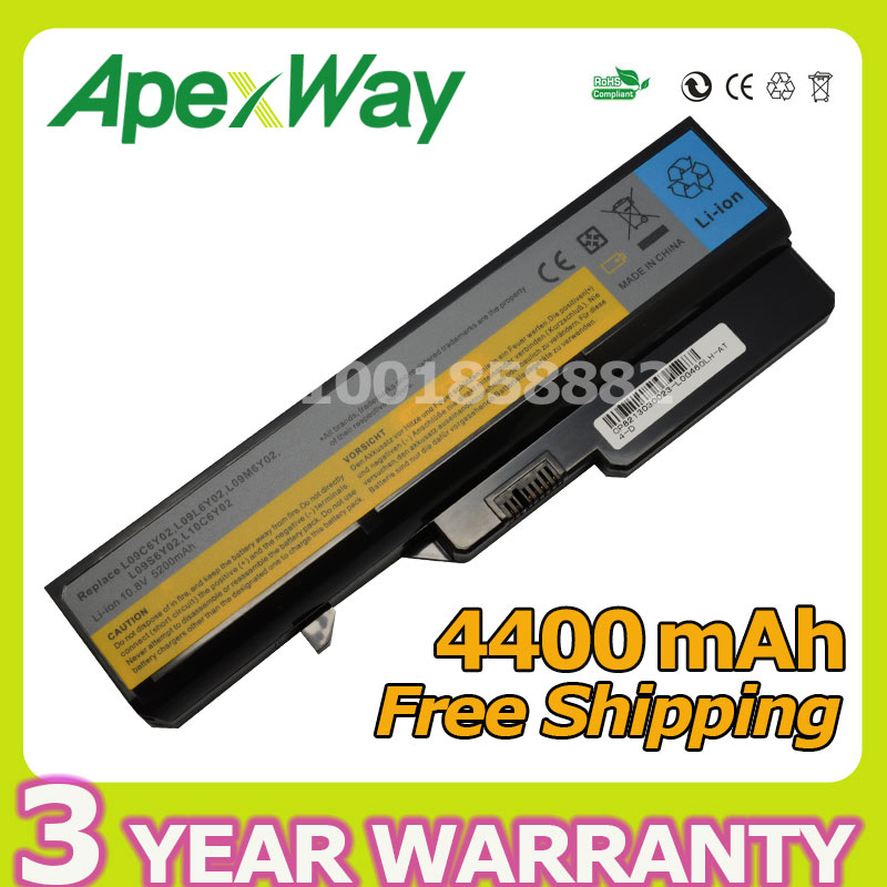 Apexway 11,1 V 4400 mAh batería del ordenador portátil para Lenovo L09S6Y02 LO9L6Y02 para IdeaPad G460 G465 G470 G475 G560 G565 G570 G575 G770 Z460