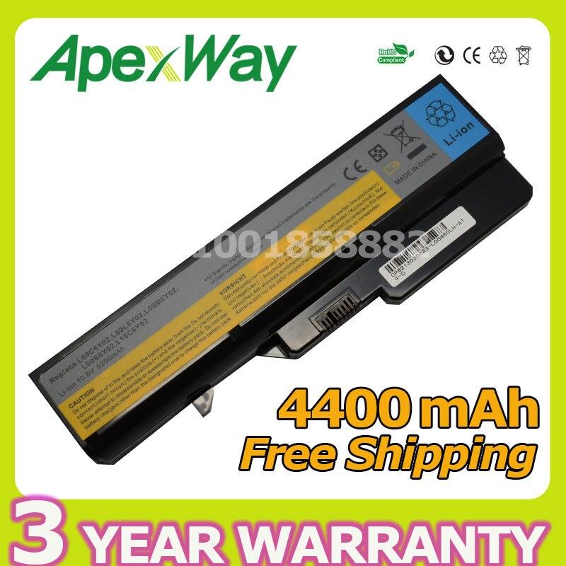 Apexway 11.1V 4400mAh Laptop battery for Lenovo L09S6Y02 LO9L6Y02 for IdeaPad G460 G465 G470 G475 G560 G565 G570 G575 G770 Z460
