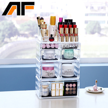AFAcrylic Cosmetics Makeup and Jewelry Storage Case Display Set 3 Large and 4 Small Drawer Case With Lipstick Organizer Top C198