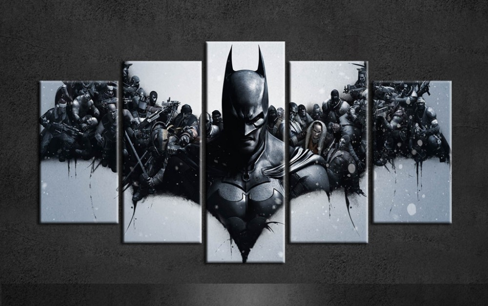 Hot sale batman painting canvas art posters group of 5 piece canvas art for living wall decor modern paintings on canvas jj0403 in painting calligraphy