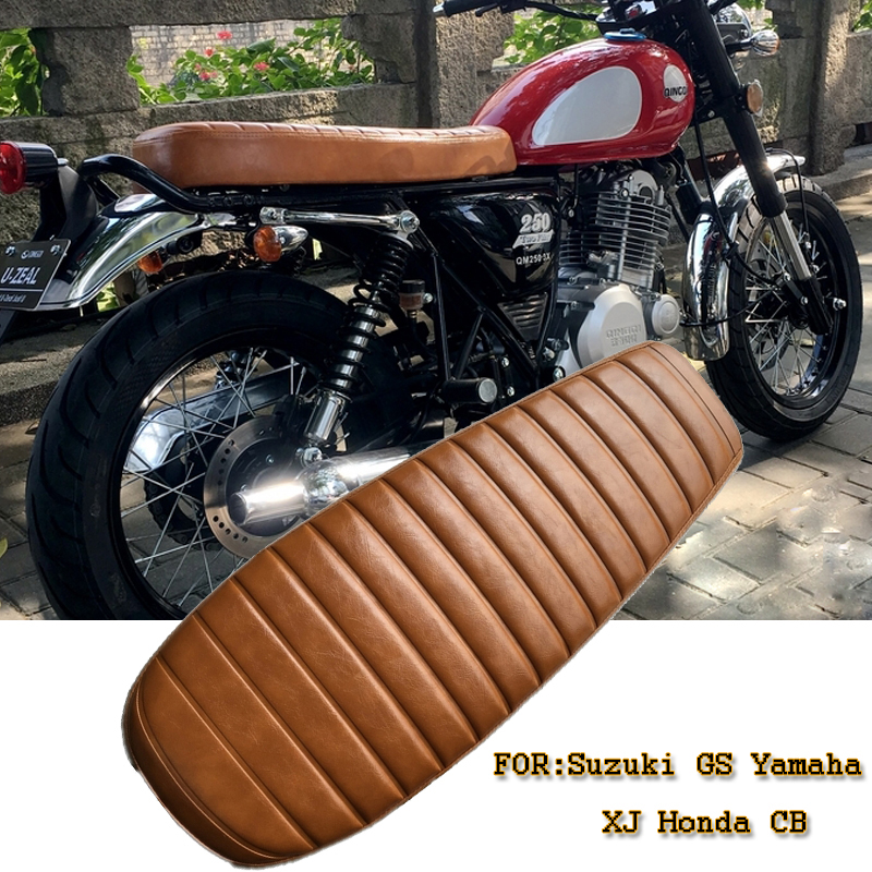 1pc 2016 New Cafe Racer Seat Comfortable Brown Vintage Flat Brat Seat Saddle for Suzuki GS Yamaha XJ Honda CB