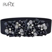 Spring summer elastic crystal big gems female wide waist belt hip hop fashion Casual luxury Belts Womens accessories BL232