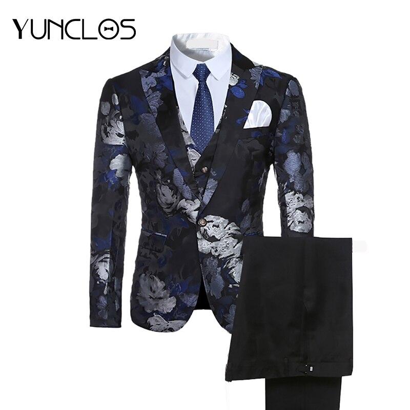 Erkek Kıyafeti'ten T. Elbise'de YUNCLOS 2019 Erkek Takım Elbise 3 Adet Parti Elbise Baskılı Takım Elbise Smokin Son Pantolon Ceket Tasarımları Slim Fit Moda Stil Düğün takım elbise'da  Grup 1