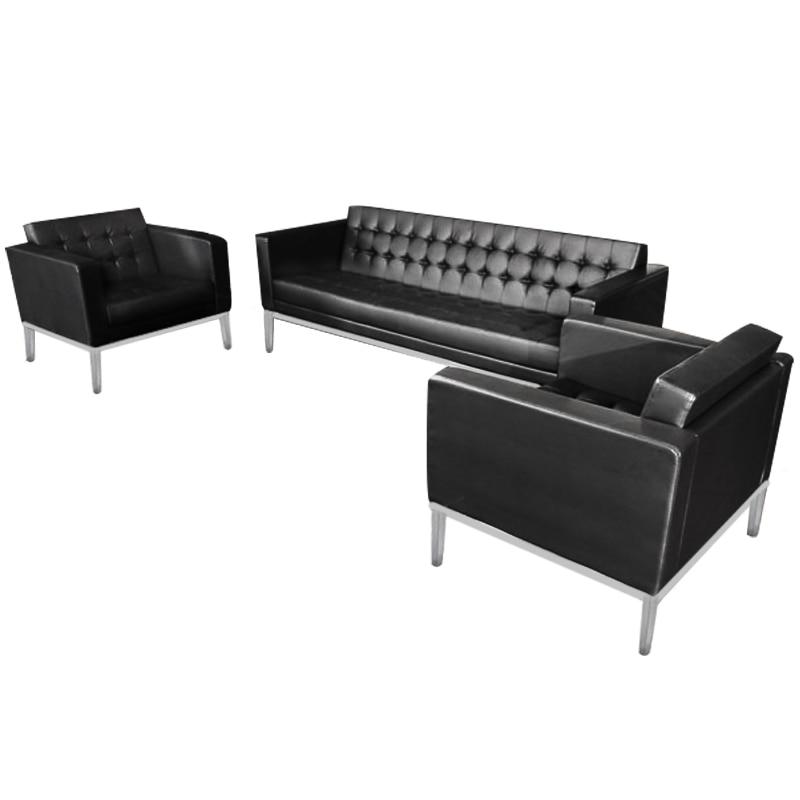 Executive Waiting Sofa Fashion Black Sofa 3 Pieces Faux Leather Commercial  Furniture Comfortable Sofa Modern Design