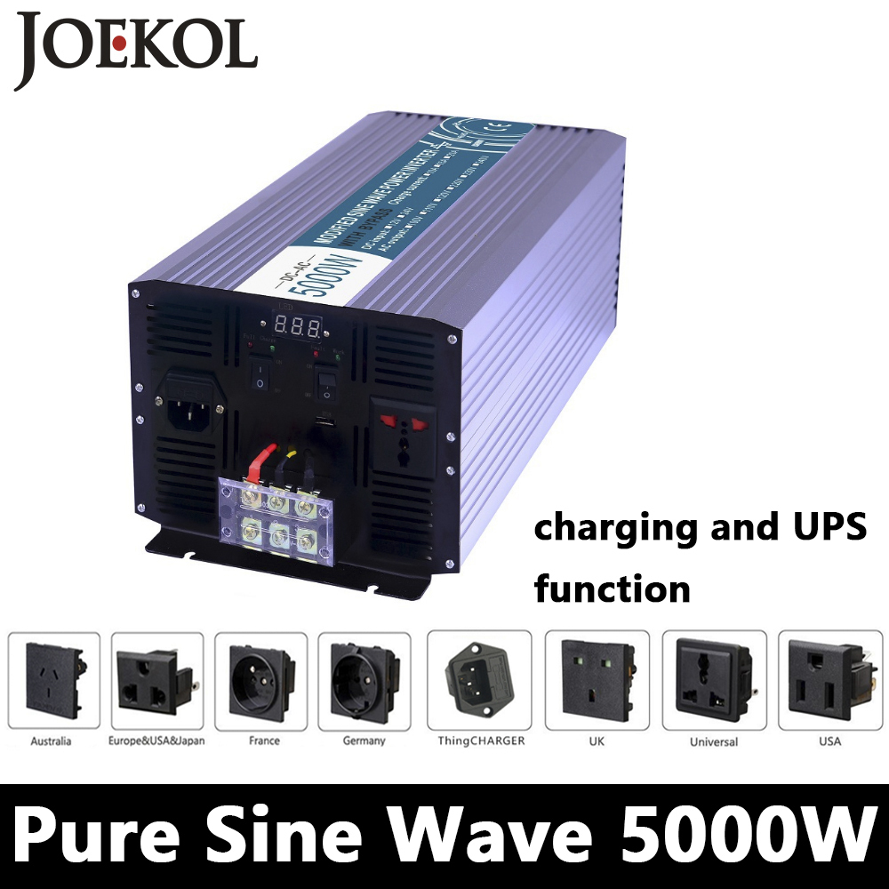 5000W Pure Sine Wave Inverter,DC 12V/24V/48V To AC110V/220V,off grid UPS solar inverter,voltage converter with charger and UPS 3000w wind solar hybrid off grid inverter dc to ac 12v 24v 110v 220v 3kw pure sine wave inverter