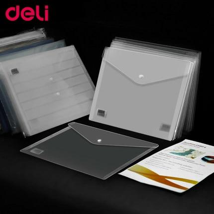 Deli 10-12pcs/set File Transparent A4 Plastic Snap Portfolio Office Stationery School And Office Supplies Document Bags