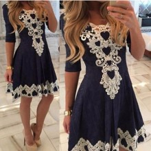 2016 Women Autumn Summer Fashion Lace Half Sleeve Dresses O-Neck Casual Party Dress Plus Size Vestidos De Festa
