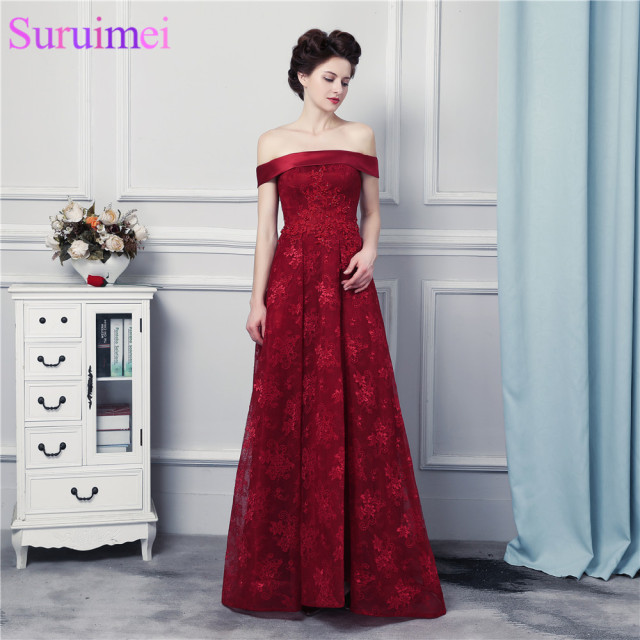 Lace Bridesmaid Dresses Corset Lace Up Wine Red Lace Burgundy Off Shoulder Brides  Maid Dresses Vestidos De e42e5da0b387