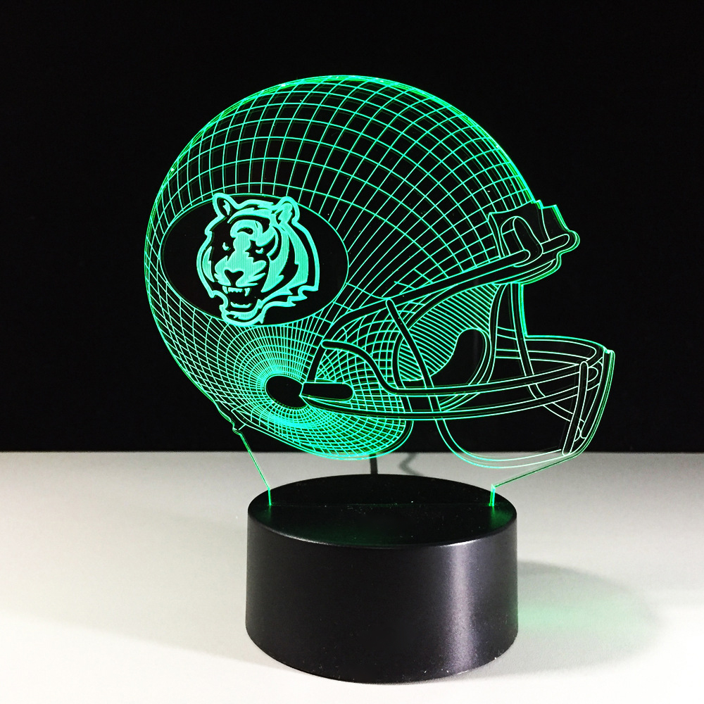 3D Football Cap Lights LED Table Lamp Color-Changing Atmosphere Rugby Helmet Night Light Luminaria Bedside Sleep Decor Kids Gift