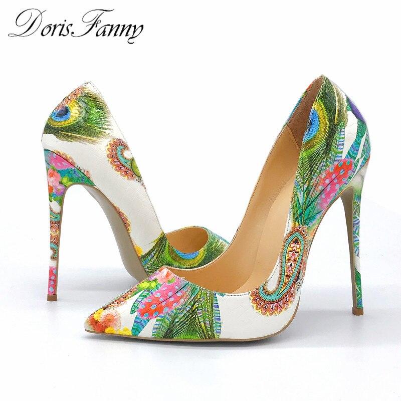 DorisFanny zapatos de mujer 2017 chicas sexy tacones altos impreso multi  colores tacones 12 10 8cm zapatos de boda zapatos en Bombas de las mujeres  de ... e445e6b1cb10