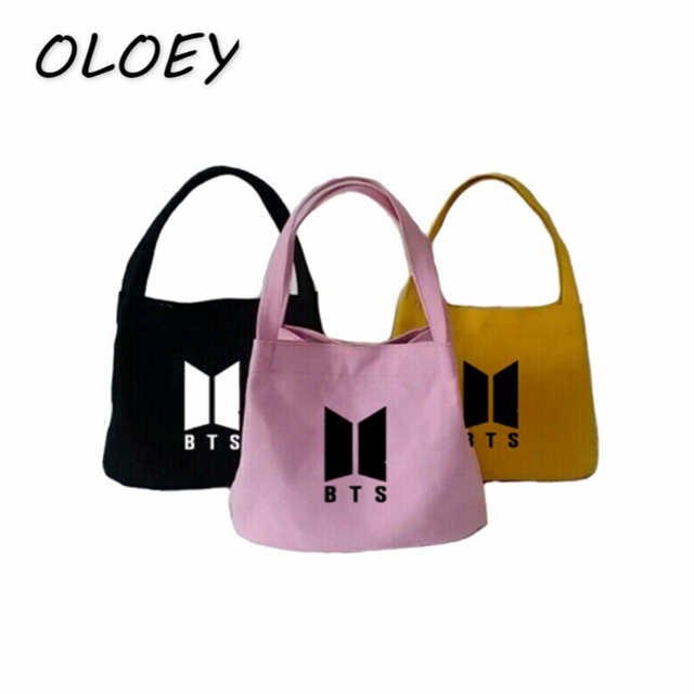 BTS Tote Canvas Bag Army Korea Bangtan Boys Shoulder Bag For Teenage Girl  Student Casual Shopping 167d6d1bb4cb1