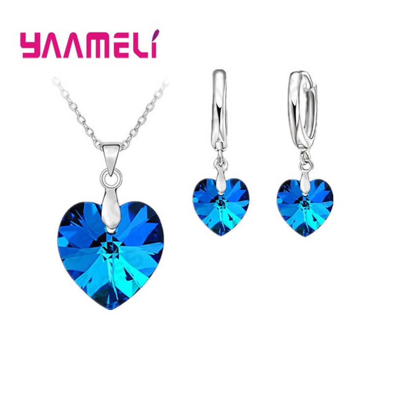 Romantic Clearly Austrian Crystals 925 Sterling Silver Jewelry Sets Heart Pendant Necklaces Lever Back Earring For Woman