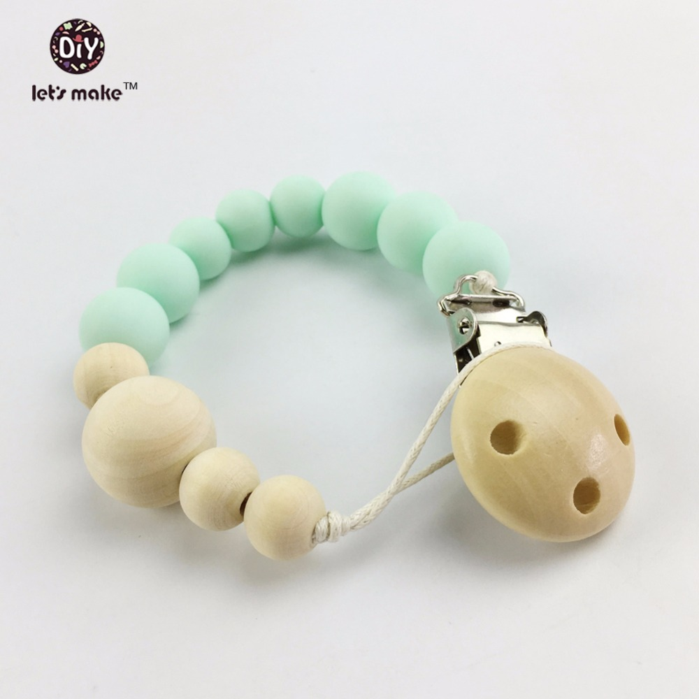 Let's make Silicone Teething Green Beads Teether Pendant(1pc)Qrganic SGS s Log Dummy Pacifier Clip Mom Nursing
