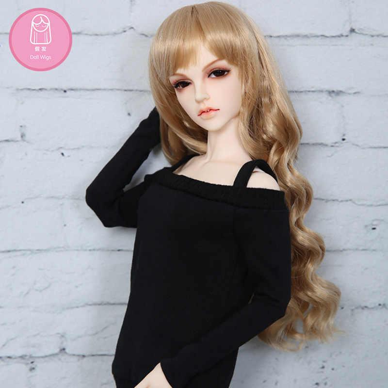 Livraison gratuite BJD perruque 1/4 longs bouclés Bang haute température cheveux argent brun pour 1/4 BJD Minifee Luts poupée accessoires