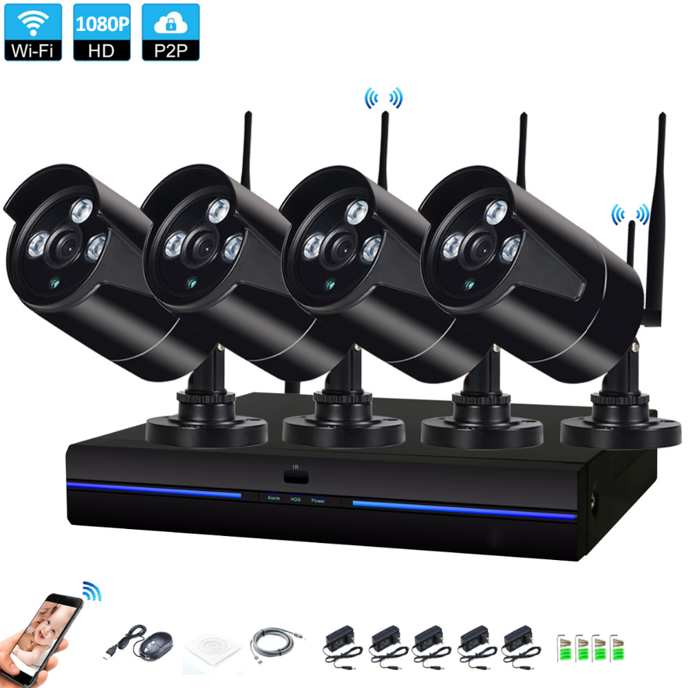 4CH CCTV System Wireless 1080P NVR 4PCS 2.0MP Black Outdoor indoor P2P Wifi IP CCTV Security Camera System Surveillance NVR Kit