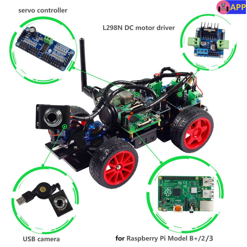 SunFounder Prodotti e Attrezzature Smart per il Controllo Remoto Video Car Kit per Raspberry Pi 3 con Android APP Compatibile con RPi 3 Modello B + B 2B 1 B +