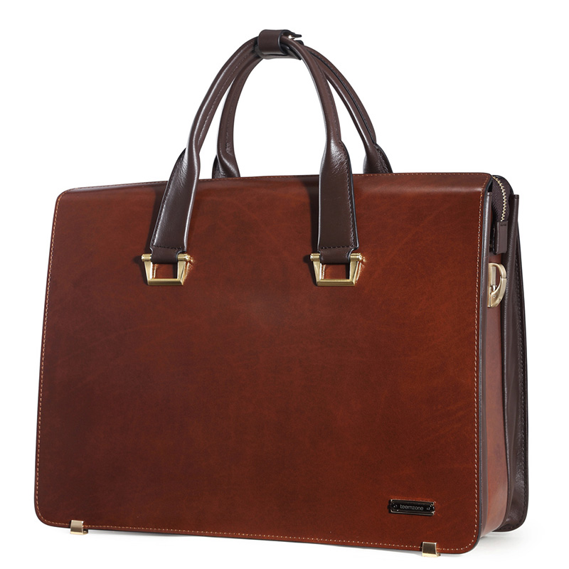 Fashion Famous Brand Business Men Briefcase Bag Oil Wax Leather Male 15 Inch Laptop Bag Casual Man Bag Shoulder Bags J15