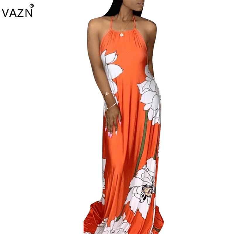 c05b8dc4e77 VAZN Весна 2019 Популярные пикантные Для женщин принт 4 цвета Свободные длинное  платье пикантные женский хальтер
