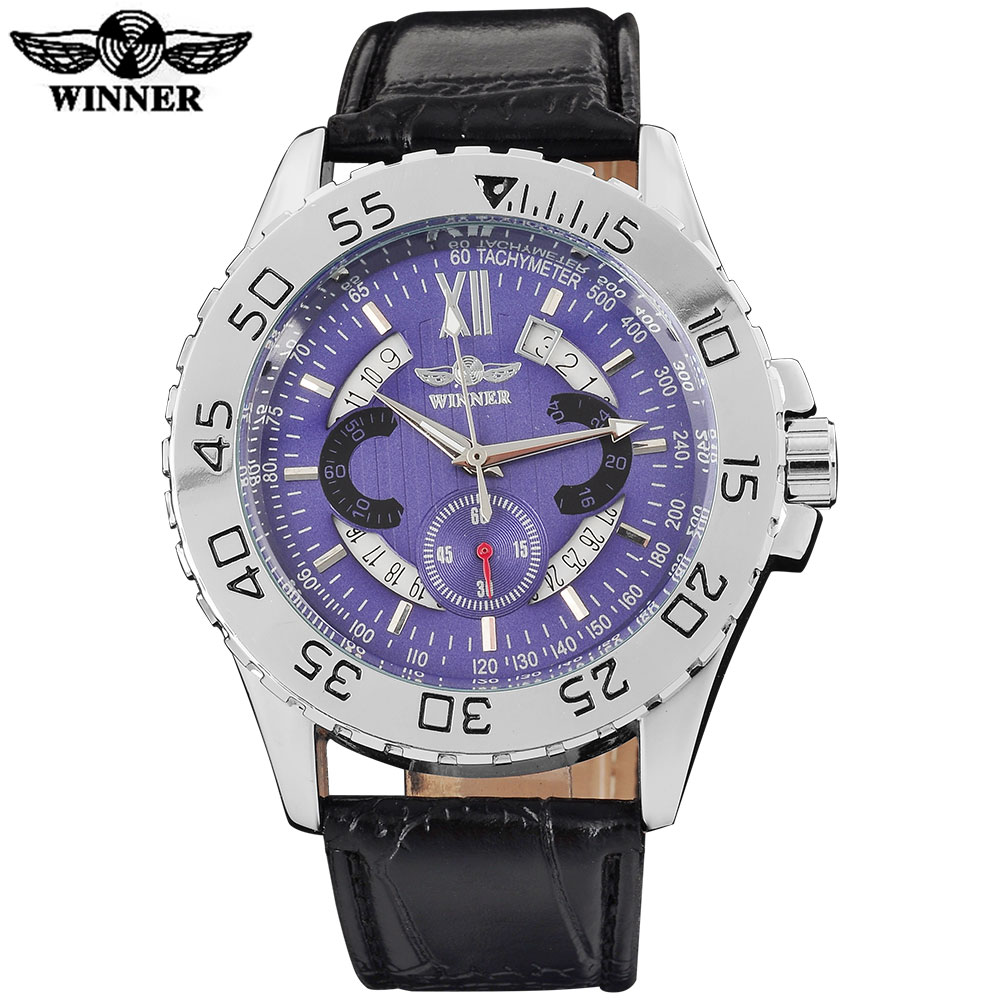 WINNER fashion brand men mechanical watches leather strap casual men's automatic silver case watches male clock montre homme winner fashion men mechanical watches leather strap silver case new casual brand analog automatic wristwatches relogio masculino