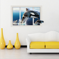 New 60 90cm 3D Wall Stickers Circular Dolphin Diving Fake Window Wall Decor Living Room Bathroom