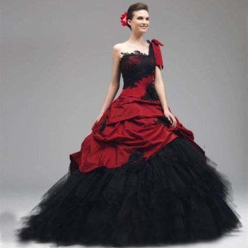 2019 vintage vestido de princesa negro y rojo boda vestidos de un