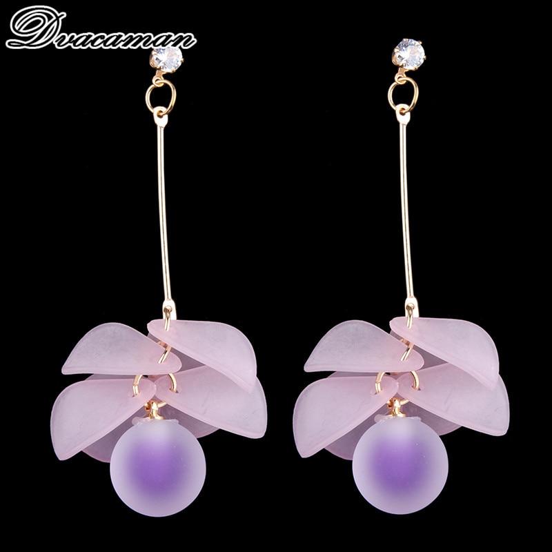 Dvacaman Cute Pinky Color Bijoux Geometric Statement Earrings for Women Hot Sale Romantic Dangle Drop Earrings Fashion Jewelry