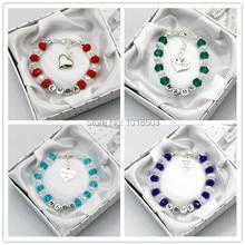 Personalised Bridesmaid Bride Wedding Flower Girl Birthday Gift Charm Bracelet with box
