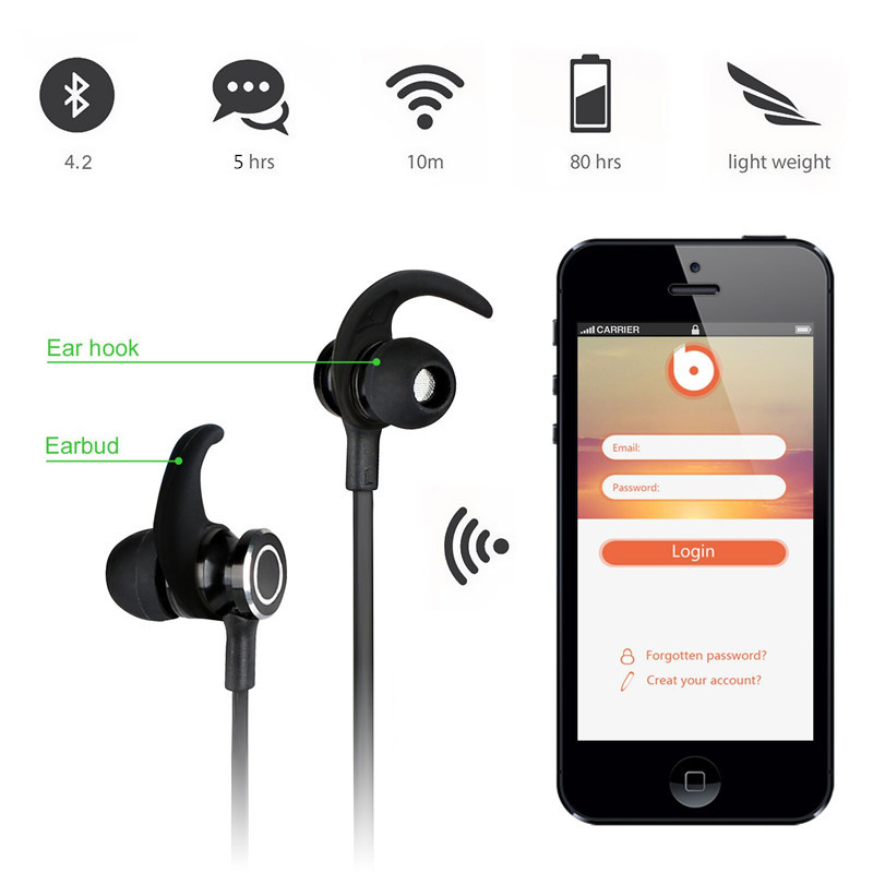Akaso S6-6 Wireless Headset Bluetooth 4.2 stereo Ear Phone headphones earphone Sport Bluetooth Headphone for iPhone Samsung