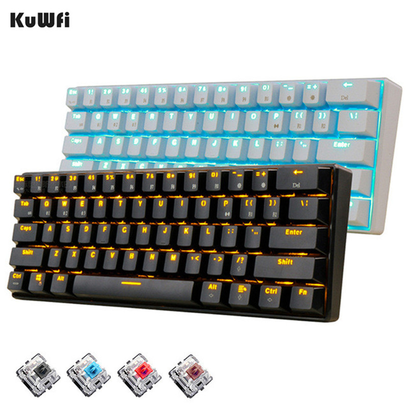 KuWFi 61 Keys Bluetooth Wireless White LED Backlit Ergonomic Mechanical Gaming Keyboard Gamer illuminated For Laptop
