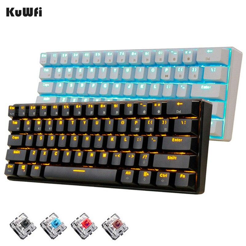 KuWFi 61 Keys Wireless White LED Backlit Ergonomic Mechanical Gaming Gamer For Laptop Computer