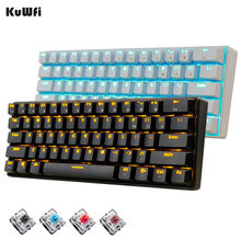 Kuwfi 61 Tombol Nirkabel Bluetooth LED Backlit Ergonomis Mechanical Gaming Keyboard Gamer Diterangi untuk Komputer Laptop(China)