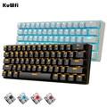 KuWFi 61 touches Bluetooth sans fil blanc LED rétro éclairé ergonomique mécanique clavier de jeu Gamer éclairé pour ordinateur portable|Claviers| |  -