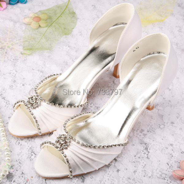 Wedopus Custom Handmade Super Quality Crystal Wedding Shoes Ladies High Heel Pumps Rhinestone Open Toe