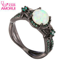 AMORUI Vintage Black Gold Color White Opal Flower Weddings Rings for Women/Men Jewelry Green Birthstone Engagement Ring Bague